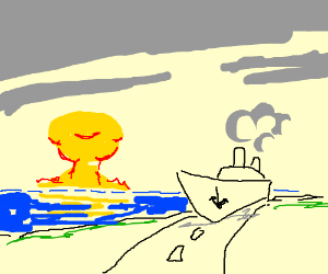 boat driving on a road. also sea is nuked