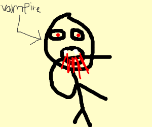 vampire eats his own arm