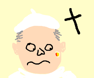 The pope has a large pimple on his face