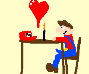 Mario having a romantic dinner with his hat