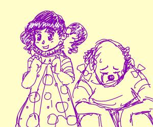 Sad Clown Guy and Happy Purple Clown Girl