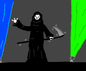 The Grim Reaper uses his scythe as a guitar
