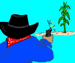 cowboy shooting corn
