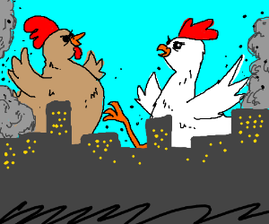 chickens fighting for world dominance