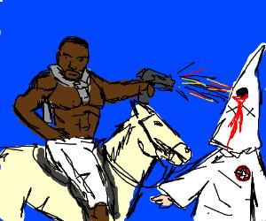 KKKguy vs shirtless black guy on horse