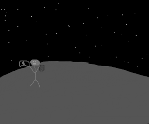 Man standing on the moon selling a record