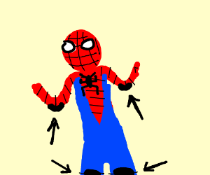 Spiderman Wearing Shoulder and Shin Pads