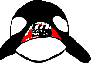 Orca with scene 7 take 47 on its teeth