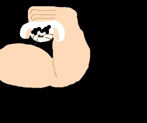 strongman holds dead bunny head