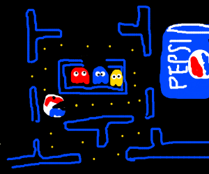 Game of Pac man sponsored by Pepsi