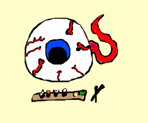 Eyeball creature is looking at sushi
