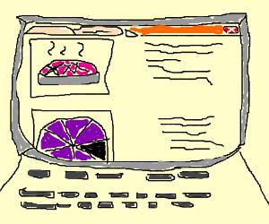 Pie website on laptop