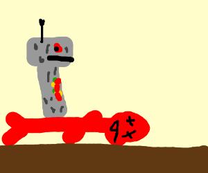 Robot steps on dead meat man