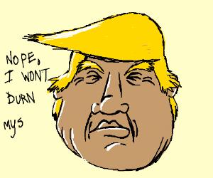 Satan burning Donald Trump