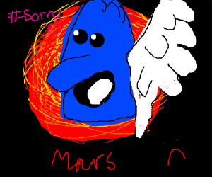 Man on mars with blue simpsons angel flying