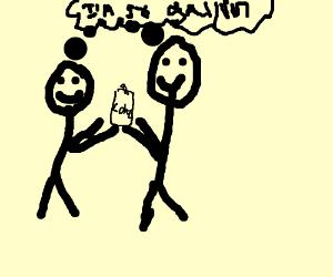 Two Happy Guys Create a Coke/Mochacciono Drink