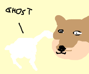 White And Blue Ghost Horse Doge Meme Drawing By Sebastijan08