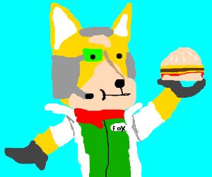 Fox McCloud eating a cheeseburger