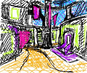 The slums of a cyberpunk city.