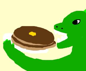 Godzilla eating pancakes