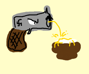 Nazi Gun peeing on Bowl of Rice.