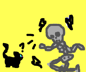 a metal skeleton trying to talk to a cat