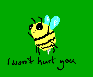 Cute bumble bee doesn't want to hurt you.