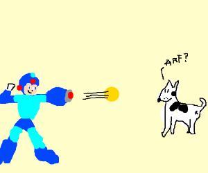 Megaman shoots a dog