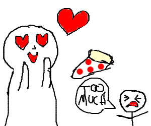 person loves his pizza too much