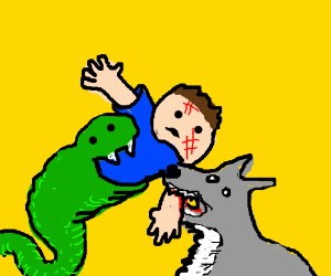 boy with snake and wolf