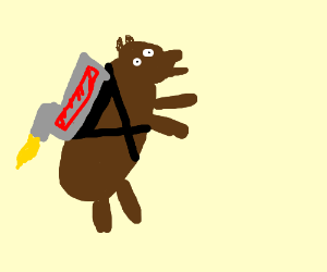 A bear with a jetpack