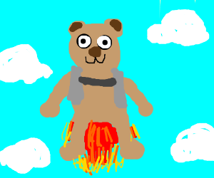 bear flying with a jetpack