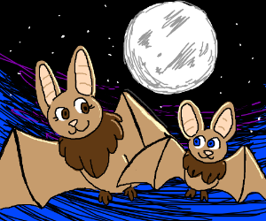 Mother bat with child flying under the moon