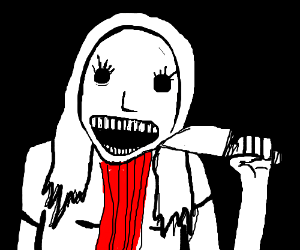 creepy B&W girl slits her throat