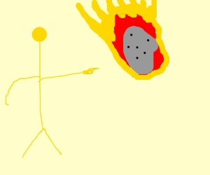 Yellow man points at asteroid