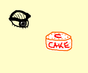 Eye looks at cake with a red U on it