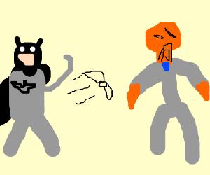 Batman throws batarang at gentleman octopus.