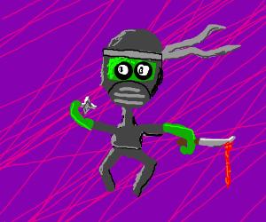 alien ninja wields a shuriken and dagger