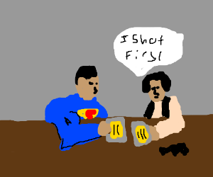 Kal-El and Han Solo sharing a beer