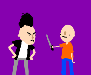 Mohawk guy hates a man holding a knife.