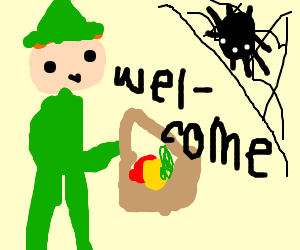 Peter pan gives welcome basket to spider.