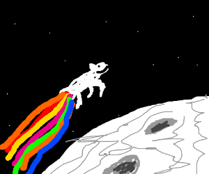 Rainbowpoopingcow goes into orbits around moon