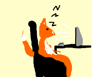 Fox man sleeps at computer