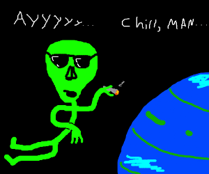 Super chill alien hanging around neptune