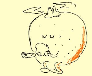 Giant orange (fruit) island drinks tea