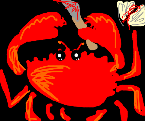 Vicious crab stands by victim, knife in claw!