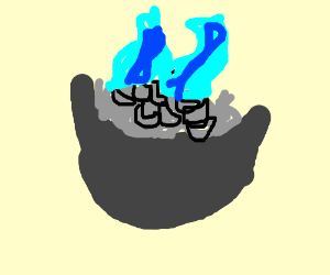 Silver macaroni with blue flames
