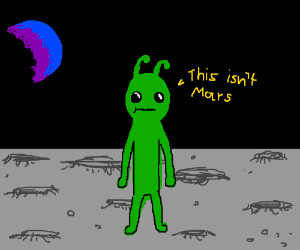 Nude Green Alien on Different Planet