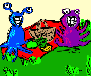 2 joyful monsters at a picnic