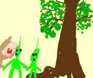 Aliens enjoy Picknick outside city